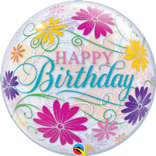 Happy Birthday Flowers and Filigree Bubble Balloon